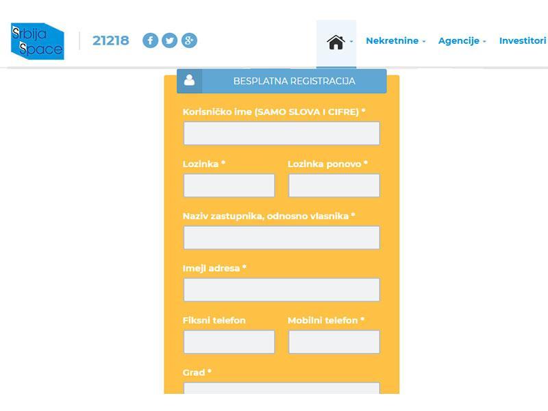 Registracija agencija za nekretnine na portalu SrbijaSpace